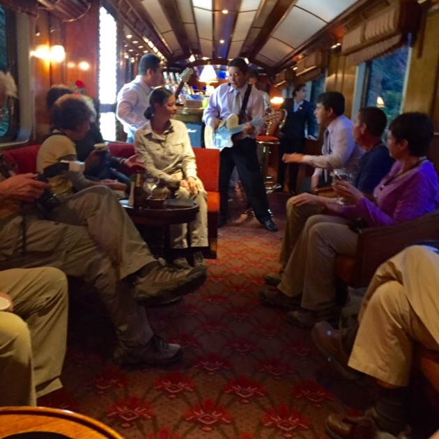 Hiram Bingham train–taking a break from the dancing to the oldies