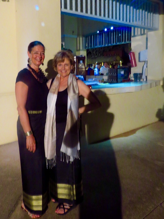 Siem Reap–Esther and I modeling our new skirts