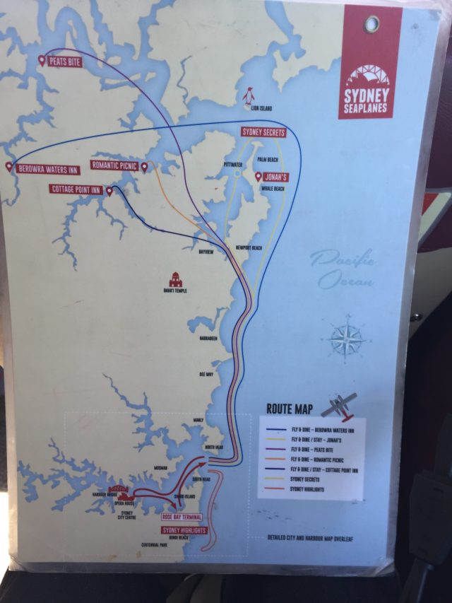 Map that shows Sydney Seaplanes tour routes around the harbor